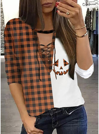 Halloween Print Plaid Round Neck Long Sleeves Casual Blouses