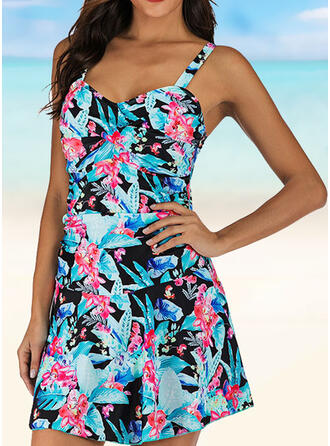 Tropical Print Ruffles Strap Retro Novelty Luxury Swimdresses Swimsuits