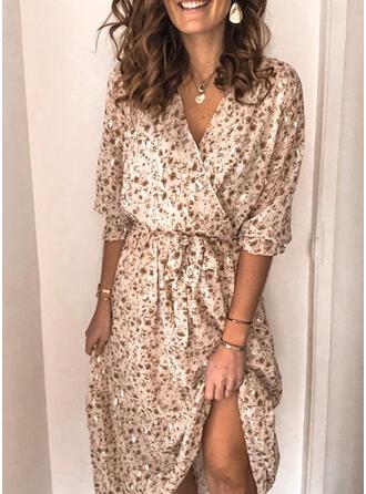 Print/Floral 1/2 Sleeves Sheath Casual Maxi Dresses