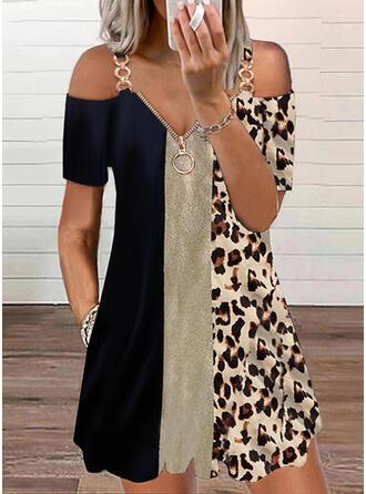 Color Block/Leopard Sequins Short Sleeves Cold Shoulder Sleeve Shift Above Knee Casual Tunic Dresses