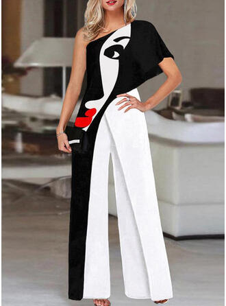 Print Color Block One Shoulder Short Sleeves Casual Suits