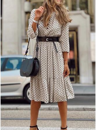 PolkaDot 3/4 Sleeves A-line Knee Length Casual/Elegant Skater Dresses