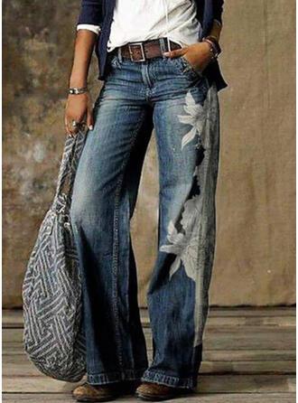 Print Shirred Plus Size Sporty Vintage Pants