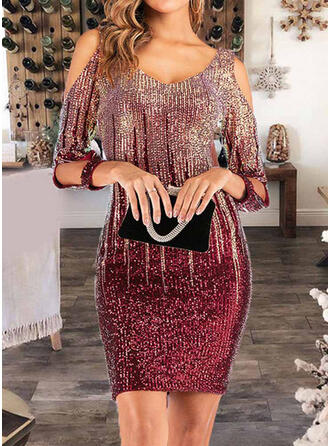 Sequins Long Sleeves/Cold Shoulder Sleeve Bodycon Above Knee Party Dresses