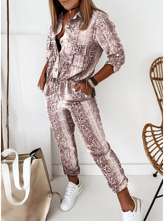 Print Shirt collar Long Sleeves Casual Jumpsuit
