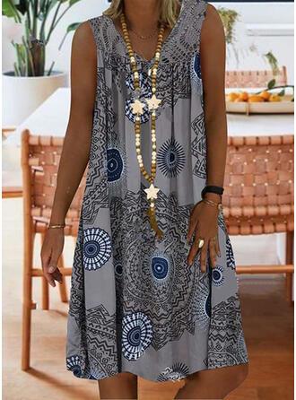 Lace/Print Sleeveless Shift Knee Length Casual/Boho/Vacation Dresses