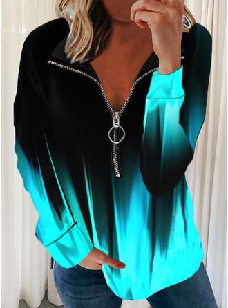Gradient Lapel Long Sleeves Sweatshirt