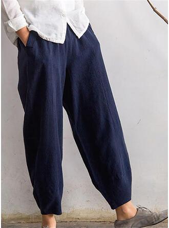 Pockets Shirred Plus Size Long Boho Casual Long Solid Pants