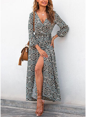 Print/Floral Long Sleeves/Lantern Sleeve A-line Wrap Boho/Vacation Maxi Dresses
