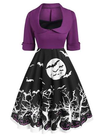 Animal Print 1/2 Sleeves A-line Knee Length Party/Halloween Skater Dresses