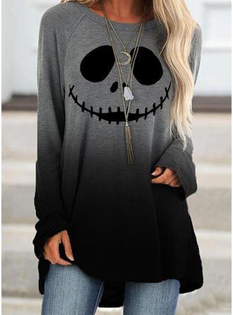 Print Tie Dye Halloween Round Neck Long Sleeves Sweatshirt