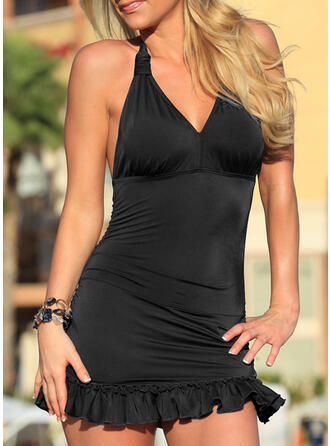 Solid Color Halter V-Neck Sexy Fresh Swimdresses Swimsuits