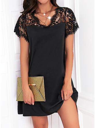 Solid Lace Short Sleeves Shift Knee Length Little Black/Elegant Dresses