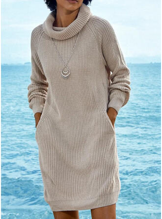 Solid Ribbed Pocket Turtleneck Casual Sweater Dress