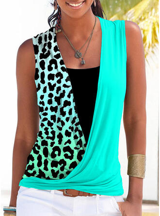 Leopard Patchwork Square Collar Sleeveless Tank Tops