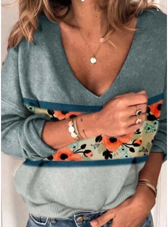 Print Color Block Floral V-Neck Casual Sweaters