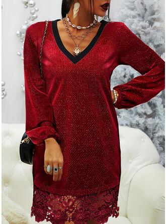Solid Long Sleeves Shift Knee Length Elegant Dresses