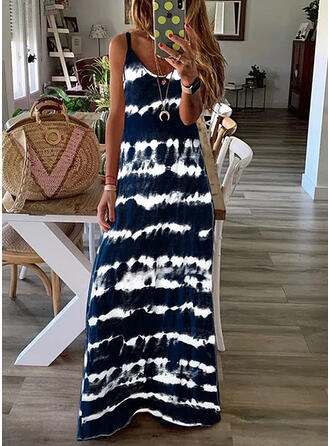 Tie Dye Sleeveless Shift Slip Casual/Vacation Maxi Dresses