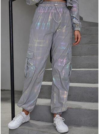 Sequins Pockets Gradient Long Casual Plaid Pants