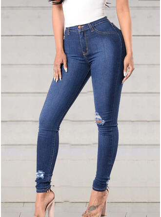 Plus Size Ripped Tassel Long Elegant Sexy Skinny Denim & Jeans