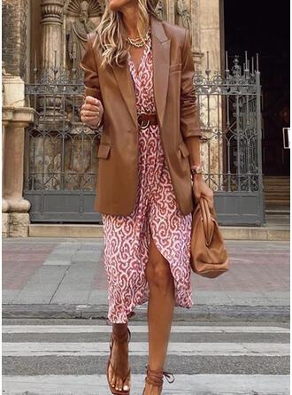 Print 3/4 Sleeves Sheath Knee Length Casual Dresses