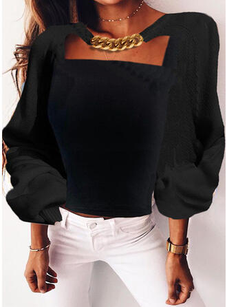 Square Collar Long Sleeves Sexy Blouses