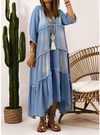 Solid Denim Long Sleeves A-line Casual Maxi Dresses