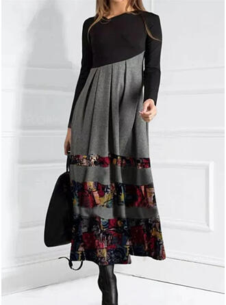 Print/Floral/Color Block Long Sleeves A-line Skater Casual Maxi Dresses