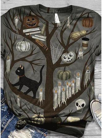 Animal Print Round Neck Short Sleeves Casual Halloween T-shirts