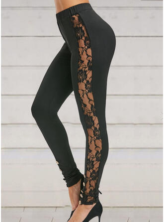Lace Patchwork Long Casual Sporty Yoga Pants Leggings