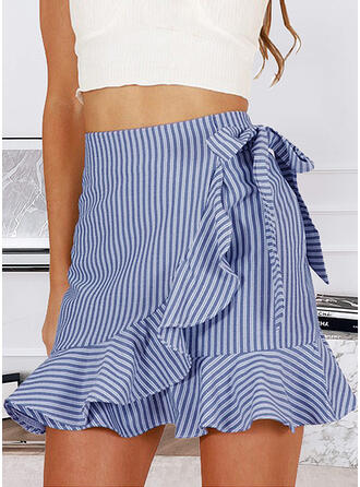 Cotton Blends Striped Above Knee A-Line Skirts