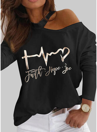 Print Heart Letter One Shoulder Long Sleeves Casual Blouses