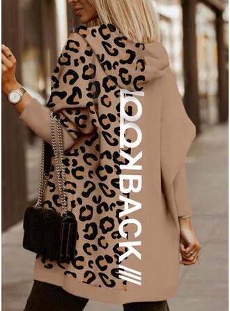 Print Leopard Letter Long Sleeves Hoodie