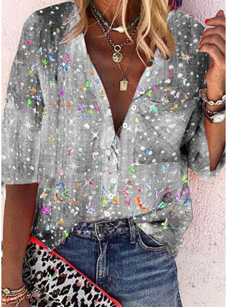Animal Print V-Neck 3/4 Sleeves Button Up Casual Shirt Blouses