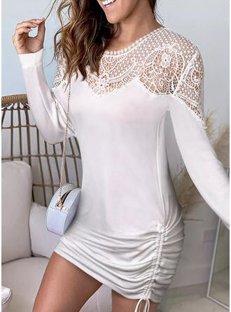 Solid Lace Long Sleeves Bodycon Above Knee Casual Dresses