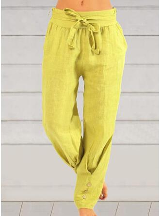 Solid Plus Size Bowknot Long Casual Plain Pants