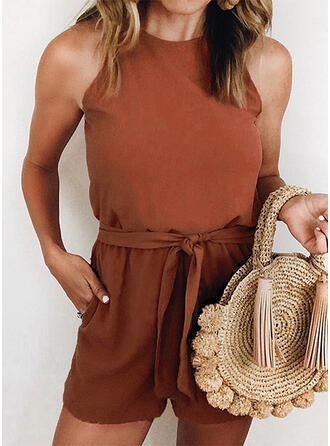 Solid Round Neck Sleeveless Casual Romper