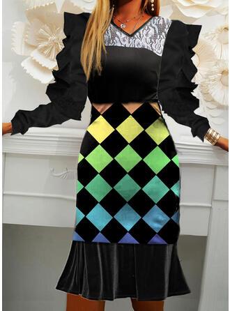 Plaid Long Sleeves Puff Sleeve Cocoon Elegant Dresses