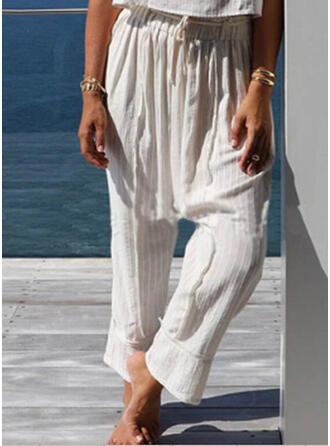 Solid Shirred Plus Size Drawstring Boho Casual Plain Lounge Pants