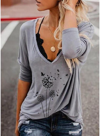 Animal Print Dandelion V-Neck Long Sleeves T-shirts