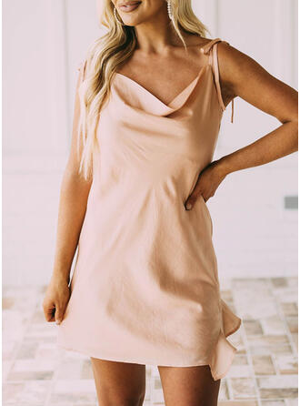 Solid Sleeveless Shift Above Knee Sexy/Party Dresses