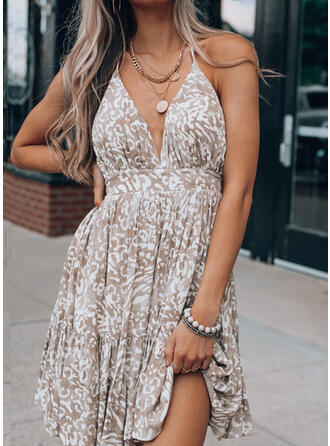 Valentine's Day Leopard Sleeveless Above Knee Party/Vacation Dresses