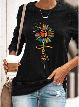 Print Floral Letter Round Neck Long Sleeves Sweatshirt