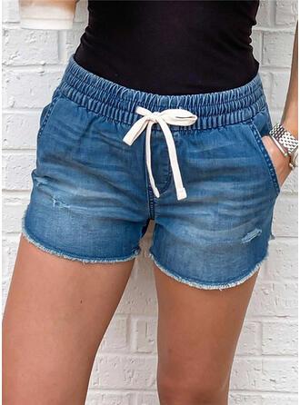 Pockets Drawstring Above Knee Casual Sporty Denim Shorts
