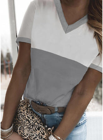 Color Block V-Neck Short Sleeves T-shirts