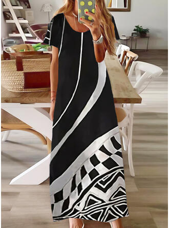 Print/Color Block Short Sleeves Shift T-shirt Casual/Vacation Maxi Dresses