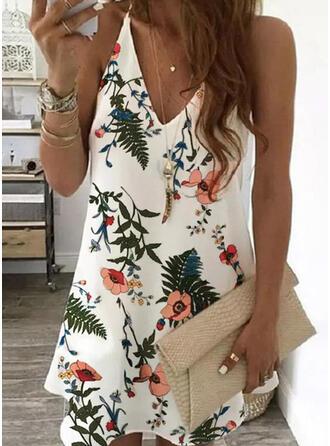 Print/Floral Sleeveless Shift Above Knee Elegant Slip Dresses