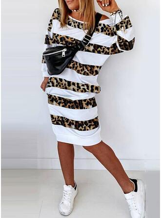 Striped/Leopard Long Sleeves Sheath Knee Length Casual Sweatshirt Dresses