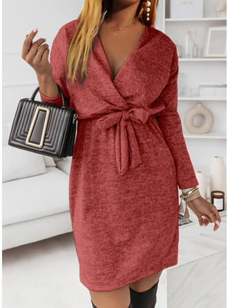 Solid Long Sleeves Dropped Shoulder Bodycon Above Knee Casual Dresses