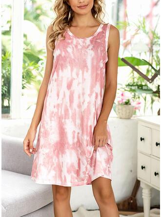 Polyester Spandex Sleeveless Plus Size Round Neck Pyjama Set
